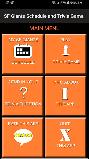 Schedule and Trivia Game for SF Giants fans screenshots 1