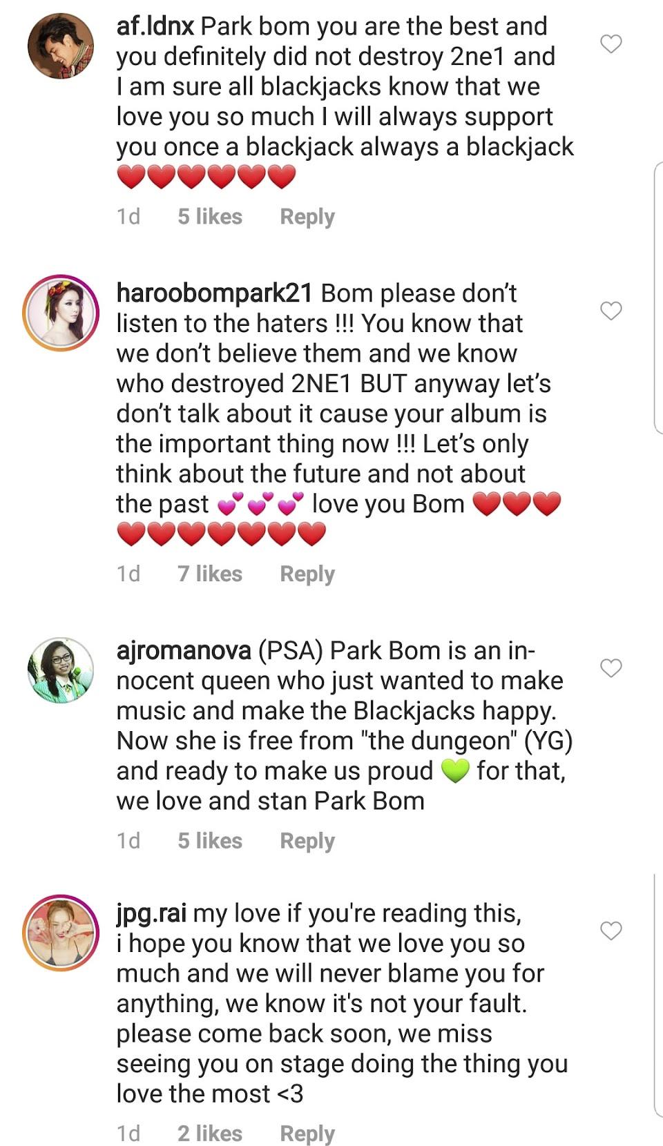 park bom 2ne1 destroy comment