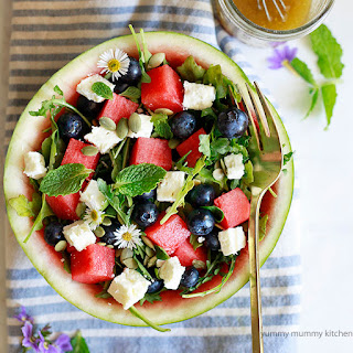Watermelon Salad with Arugula, Feta, and Blueberries
