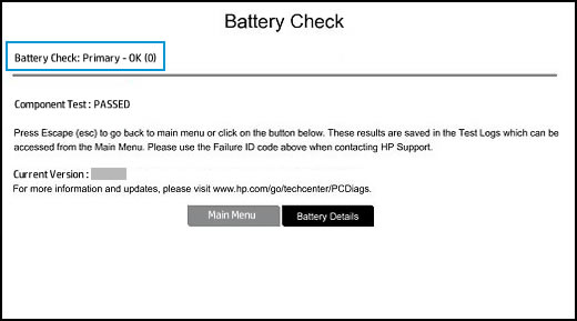 Example of a passed Battery Check