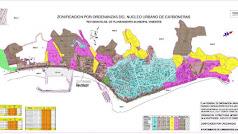 Zonificación del núcleo urbano de Carboneras.