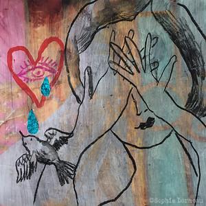 bleu a l'ame, peinture, sophie lormeau, artiste contemporaine, art figuratif, figuration libre, art singulier, french artist, paris, happy , colorful, contemporary, sophielormeau, femme, larme