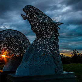 The Wee Kelpies  by Gordon Bain - Artistic Objects Other Objects ( scotland, stormy sky, sunset, wee kelpies, highlands, inverness campus )