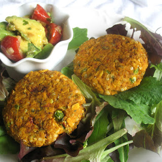 Sweet Potato and Chickpea Patties with Avocado and Tomato Salsa.