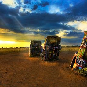sunset over cady farm route 66 by Lee McLaughlin - Artistic Objects Other Objects ( etrips, americana, amarillo, autos, eyefull tower films, sunset  art project, texas, buried, route 66, usa, new mexico, cadillac farm_ranch )