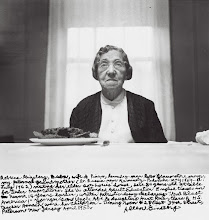 "Photo: Allen Ginsberg, ""Rebecca Ginsberg, Buba, wife of Pincus, laundry-man later tobacco-store owner, my paternal grandmother (b. Russia near Kaminetz-Podolska May 1869–d. July 1962) visiting her elder son Louis' house, here 84 years old at table for Seder preparations. She'd attended Adult Education English classes in Newark 14 years earlier, written patriotic essay declaring ""God Blast America!"" Younger son Uncle Abe & daughters Aunt Rose, Clara & H.S. teacher Hannah were her children. Dining room 428 East 34th Street, Paterson New Jersey April 1953."" (1953). Gelatin silver print, printed 1984–97, 6 1/2 x 9 1/2 in. (16.5 x 24.2 cm) from Tim Keane's Review of ""Beat Memories: The Photographs of Allen Ginsburg"" at Grey Art Gallery http://hyperallergic.com/65172/i-noticed-my-friends-allen-ginsbergs-photography/"