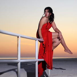Red Sunset by Miranda Cantu - People Portraits of Women ( beaches, models, modeling, portraits of women, gorgeous, gulfport, sunset, mississippi )