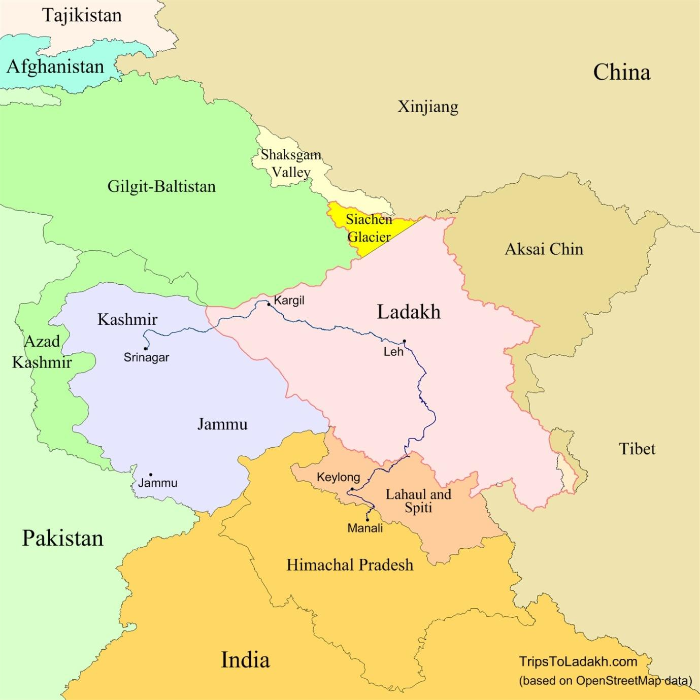 Image result for ladakh map