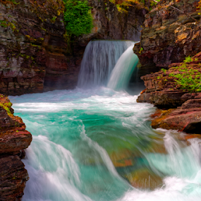 St Mary falls by Eric Ebling - Landscapes Waterscapes ( glacier, national park, waterfalls, montana, travel, roadtrip )
