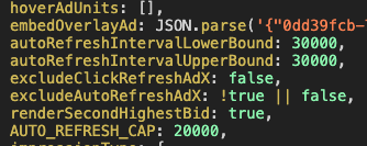 Second screenshot of Javascript code on a publisher website, which refreshes ad slots on a website approximately every 30 seconds.