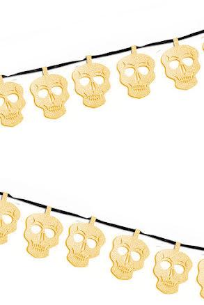 Glittergirlang Dödskalle guld 2,5m