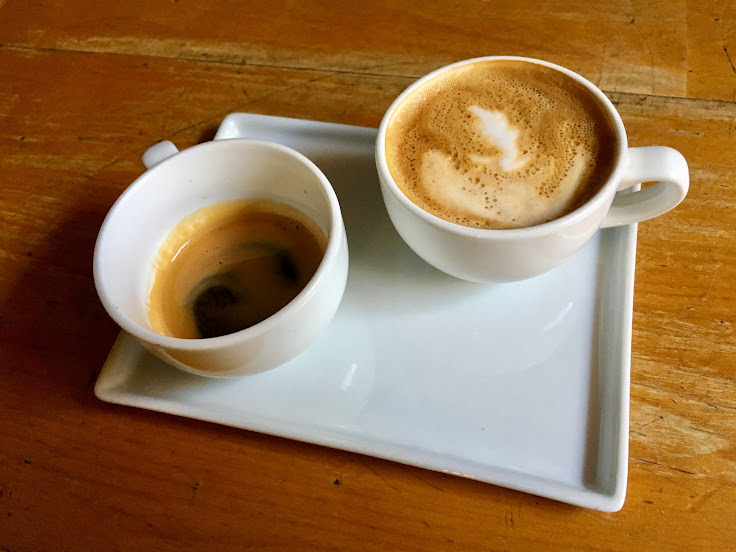 The One and One: a shot of espresso and a macchiato.