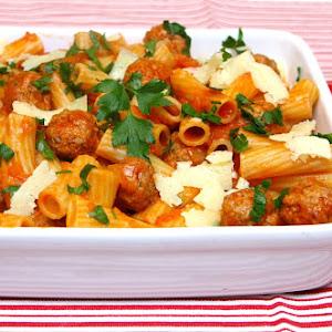 Rigatoni with Mini Meatballs and Tomato