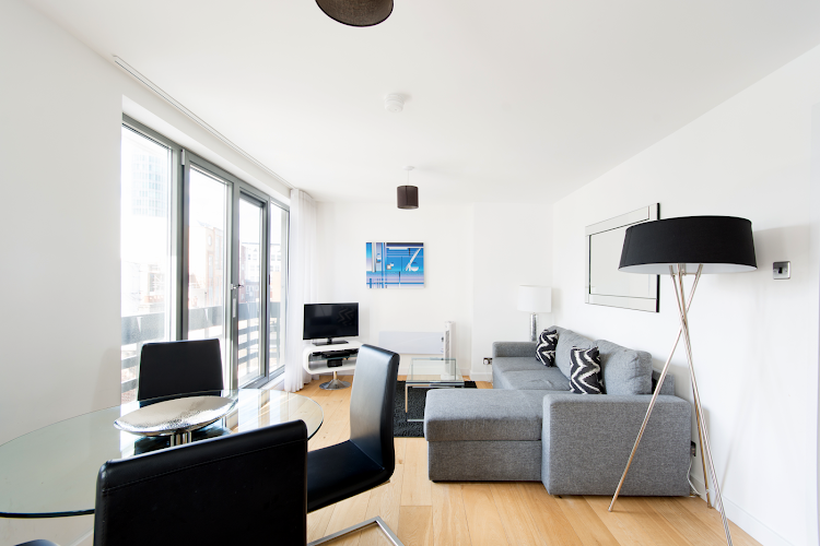 living space at Tottenham Street Apartments