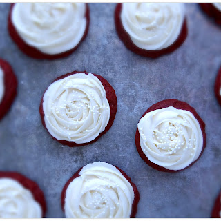 Soft Red Velvet Sugar Cookies with Cream Cheese Frosting
