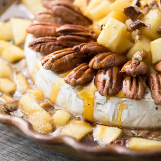 Baked Brie with Maple Apples and Pecans.