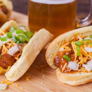 Slow Cooker Hot Dogs with Chili and Cheese.