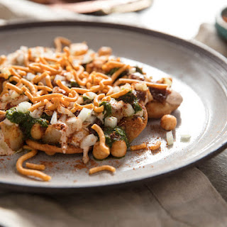 Papri Chaat (Indian Street Snack With Potato, Chickpeas, and Chutneys).