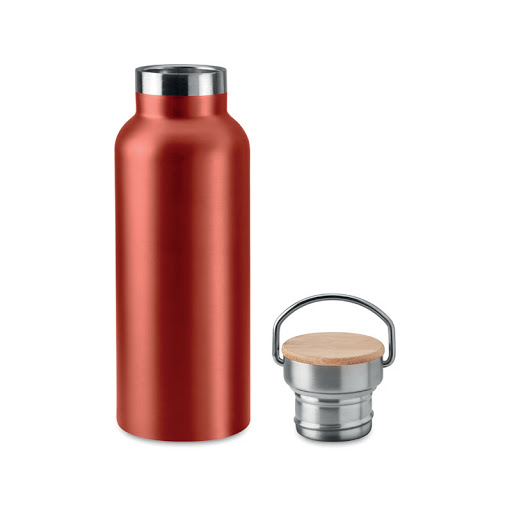 Stainless Steel Vacuum Flask with Bamboo Lid & Carrying Handle