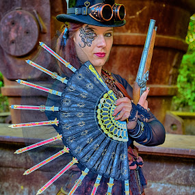 Marina by Marco Bertamé - People Portraits of Women ( fond-de-gras, woman, goggles, lady, steampunk, gun, hat,  )