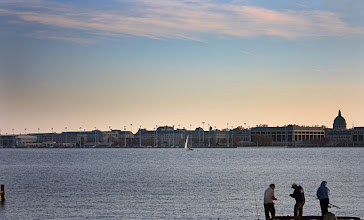 Photo: Fishing at Sunset | A trio fishing across the Severn River from the USNA. © 2010 Ryan Lynham