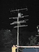 Photo: Terry W8ZN cranks up microwave antennas - FN10CA - ARRL June VHF 2014