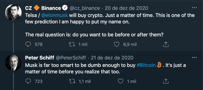 tweets CZ Binance e Peter Schiff