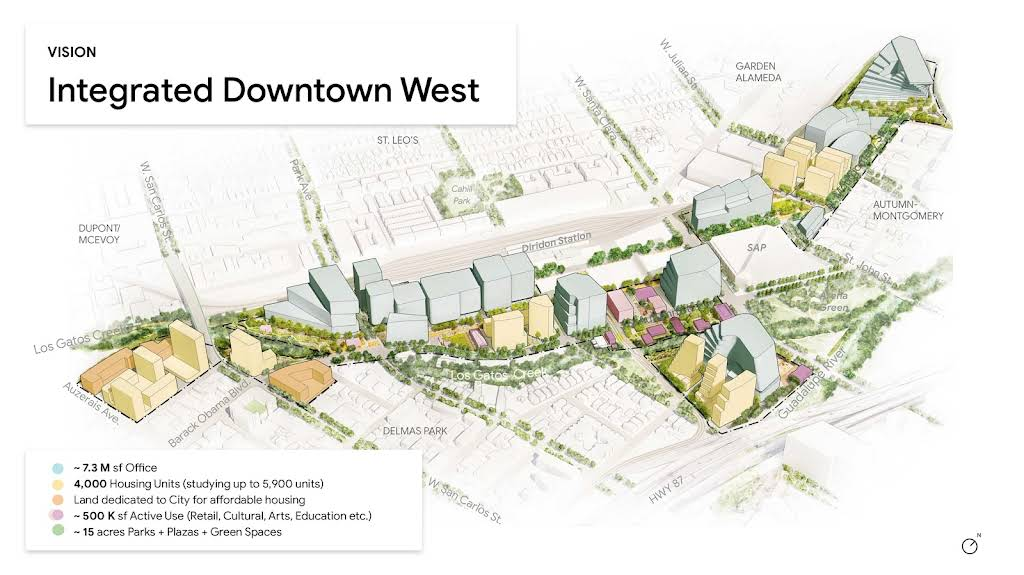 A 3D map of Downtown West showing the possible massing and different uses.