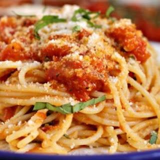 Spaghetti with Fresh Tomato Sauce.