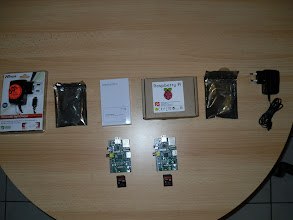 Photo: My full Raspberry Pi kit.  Left: Farnell/Element 14, Right: RS Components
