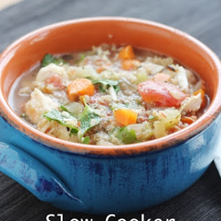 Slow Cooker Italian Chicken, Quinoa & Vegetable Soup.