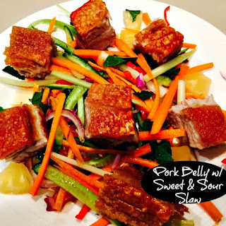 Pork Belly with Sweet & Sour Slaw.