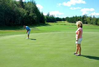 Photo: Our playing partners at Salish Cliffs -- Deanna and Frank -- are from Naselle, Wa