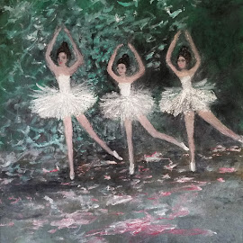 The Ballerina Dance by Rhonda Lee - Painting All Painting ( girl, unique, serene, impressionist, rokinronda, sublime, ballerina, pretty, dance, painting )
