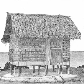 Little Island Home by Lew Davis - Drawing All Drawing ( home, sketch, hut, house, island house, lew davis, drawing, island, drawings, huts, islands, sketches, pencil drawing, houjses, pencil sketch, homes,  )