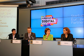 Photo: Mark Silverstein, head of product, tech, IP and policy at Spotify; Teemu Suila, chief operating officer of Rovio; Neelie Kroes, vice-president of the European Commission responsible for the digital agenda; and Sherry Coutu, angel investor and non-executive director of the London Stock Exchange Group