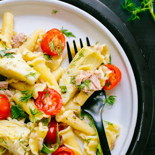 Tuna Spinach Artichoke Pasta Salad.