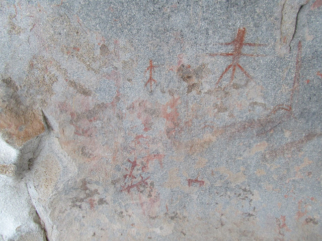 Pictographs on a boulder