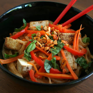 Tofu and Thai Noodles with Peanut Sauce.