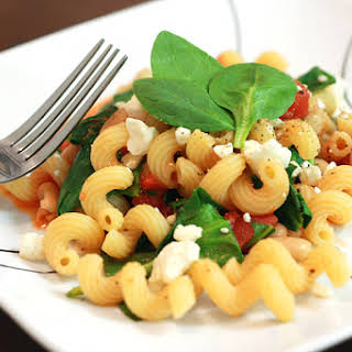 Pasta with Feta, Tomatoes, and White Beans.