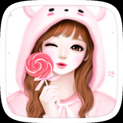 粉紅可愛的女孩主題 個人化 App LOGO-硬是要APP