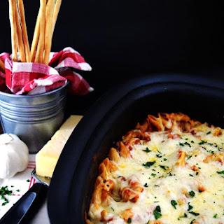 Crock Pot Chicken Parmesan Penne Pasta.