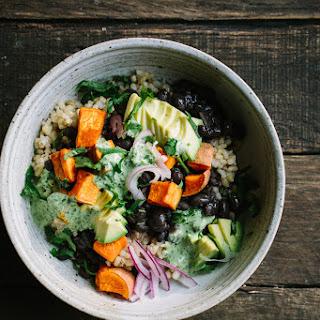 Black Bean Sweet Potato Grain Bowls With Herbed Tahini Dressing.