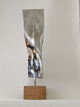 Photo: TWIST - 23H X 6W X 7D Forged and Polished Mild Steel, Mahogany, Interactive Kinetic