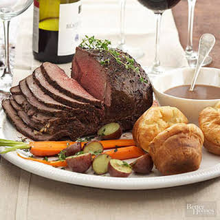 Peppercorn Roast Beef with Herbed Yorkshire Puddings.