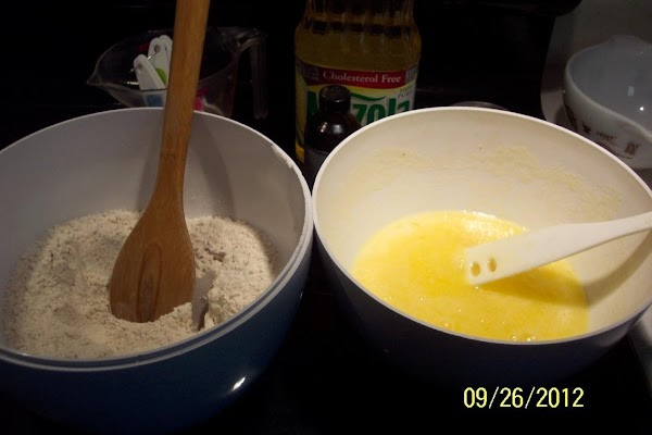 In another bowl ..add 3 eggs,sugar, beat. Add oil, and almond flavoring....beat together.