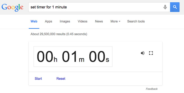 Google tips and tricks - timer
