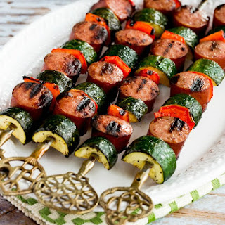 World's Easiest Grilled Zucchini and Sausage Kabobs.
