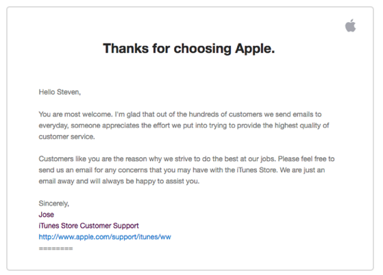 Apple follow-up with a response.