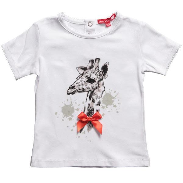 Photo: Silvian Heach  Baby Girls White Cotton T-Shirt with Giraffe, Diamante & Red Bow http://www.childrensalon.com/baby-girls-white-t-shirt-with-giraffe-diamante-pink-bow.html  Price: £18 Size range: 6-24 months
